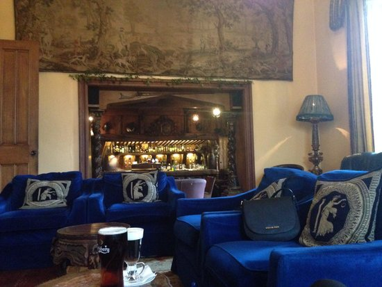Belleek Castle: Sitting by the fire looking at the bar