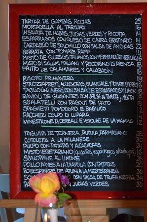 Macao Cafe: Menu board