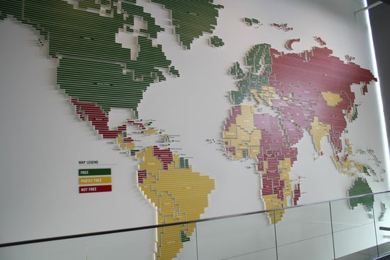 Newseum: A great map of the world showing the differences in free and not so free media