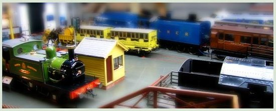 National Railway Museum: Tilt-shift view from rail bridge. These are real trains.