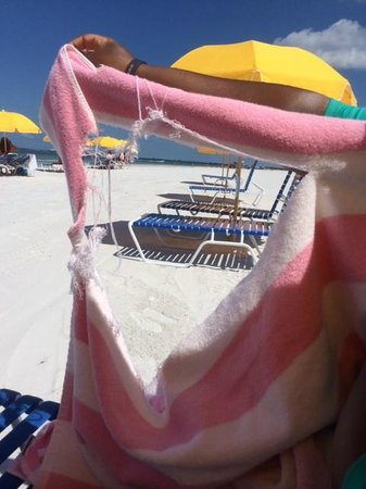 Pink Shell Beach Resort & Marina: Torn beach towel.