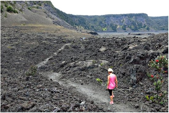 Kilauea Iki Trail: A view of the trail along the crater floor.