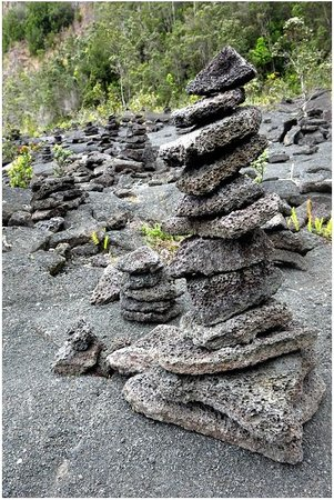 Kilauea Iki Trail: Follow the stacked rocks to stay on the trail across the crater floor.