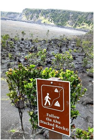 Kilauea Iki Trail: At the exit (or the entrance, depending on which way you do the trail) of the crater floor trail