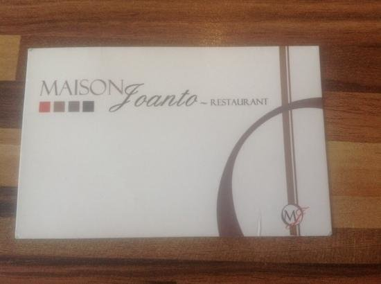 Restaurant JOANTO : carte visite du restaurant tél : 0559202770