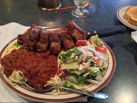 TNT Family Restaurant: Poor Deep Fried Greek Ribs, Great Spaghetti though