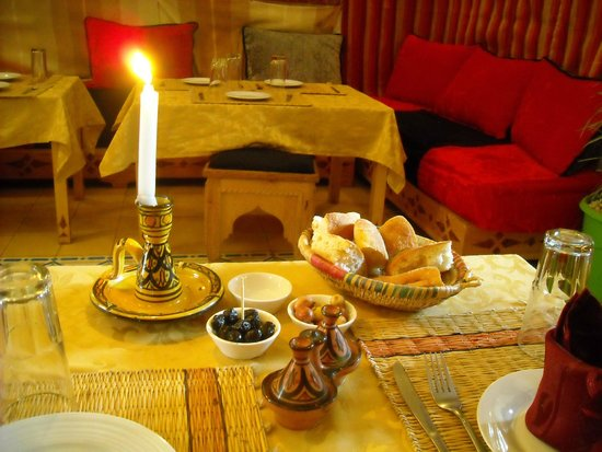 Bab Skala: pre-meal setting.  Bread and olives are always a staple