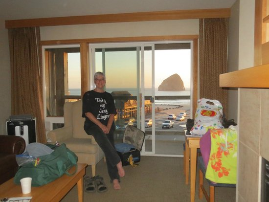 "Inn At Cape Kiwanda : looking out at the ""haystack"" rock"