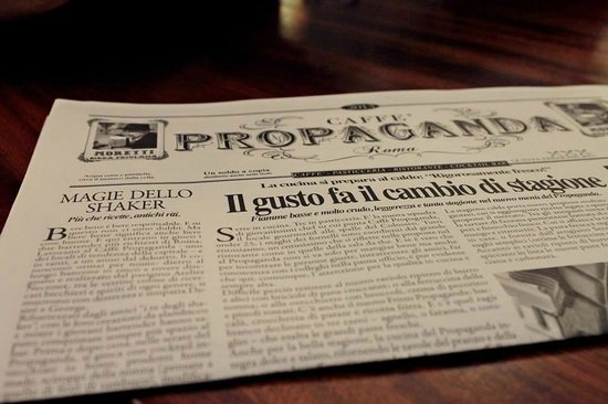 Caffe Propaganda: Un particolare menù