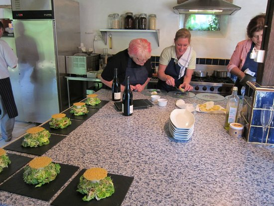 Walnut Grove Cookery School: Teams working in the kitchen on starters