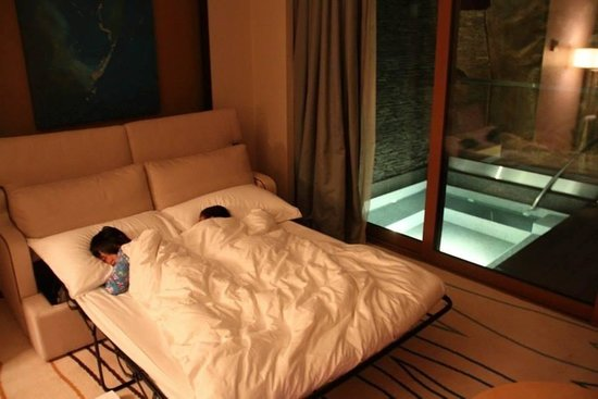 Resort World Sentosa - Beach Villas™ : Sofa bed and the outdoor jacuzzi on the second storey of our room at Ocean Suites