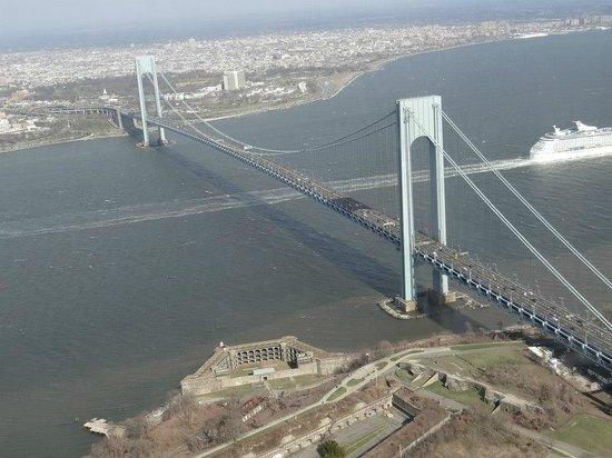 Another view of Fort Wadsworth and the Verrazano Bridge from a helicopter tour