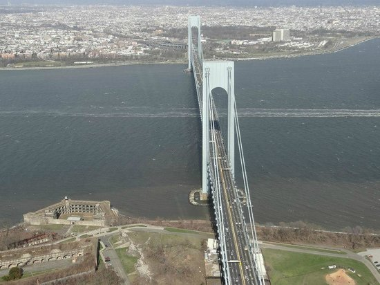view of Fort Wadsworth and the Verrazzano Bridge from Helicopter tour