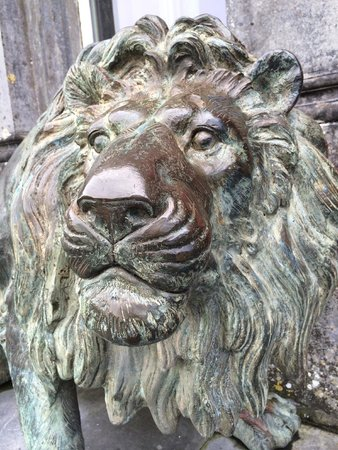 Ballyseede Castle: Guardian Lion at the front door.