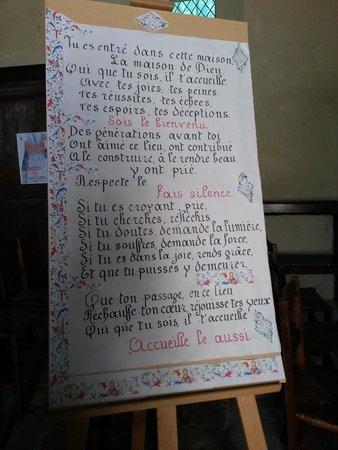 Église Sainte-Radegonde de Giverny : Manifesto all'interno della Chiesa di Giverny