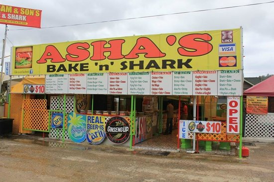 Maracas Bay : 1 of many options for bake and shark.