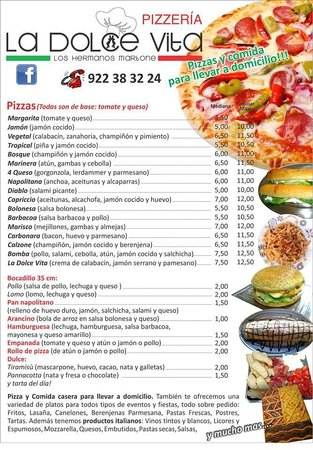 Menu Picture Of La Dolce Vita Pizzeria Puerto De La Cruz