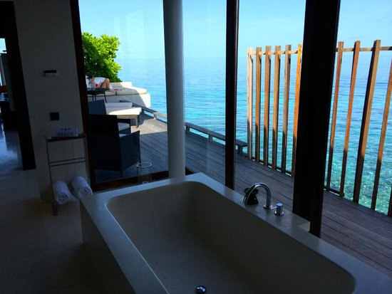 Park Hyatt Maldives Hadahaa: Bathroom view in overwater villa
