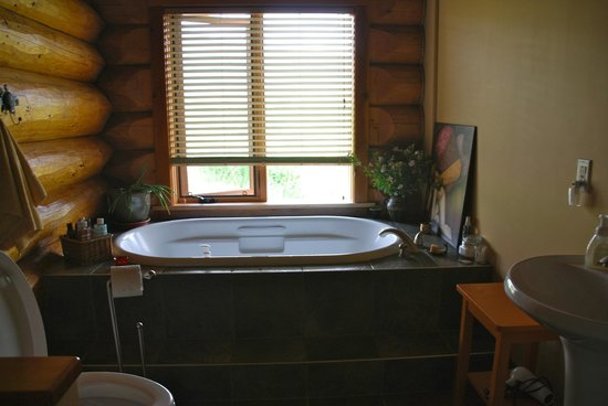 O'Reilly Organic Farm Bed & Breakfast: Bathroom with fresh flowers and a view!