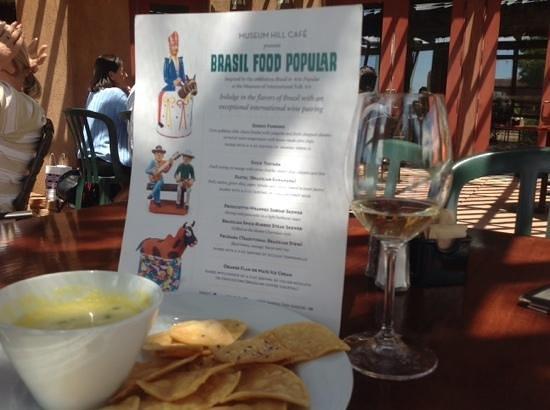 Museum Hill Cafe: Special menu for Brazilian Folk Art exhibit