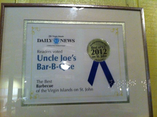 Uncle Joe's Barbecue: Uncle Joe's Best in 2012 certificate