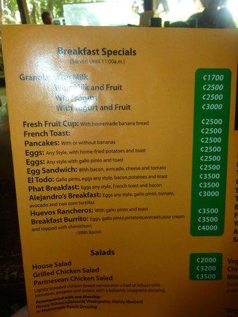 Tortilla Flats: menu