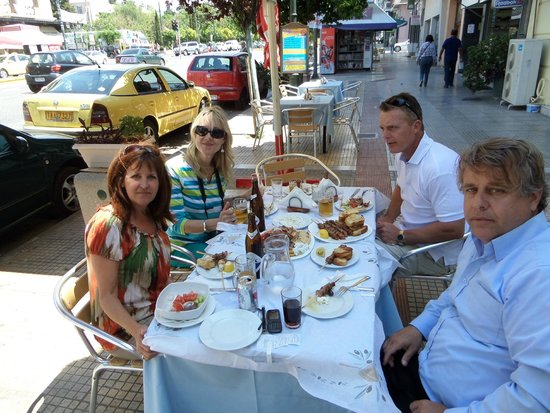 Greece Athens Day Tours : Eating lunch...that's Yiannis on the right