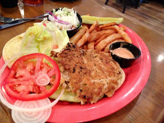 The Island Cow : Crab cake sandwich$12.99..  Huge & yummy!