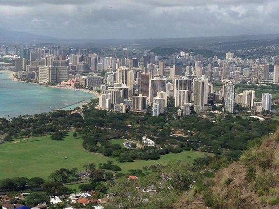 top of Diamond Head with Honolulu in the back