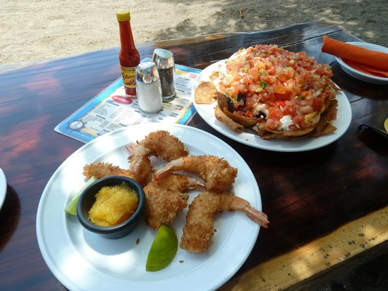 Father Rooster Beachfront Bar & Grill : Coconut Shrimp and Nachos