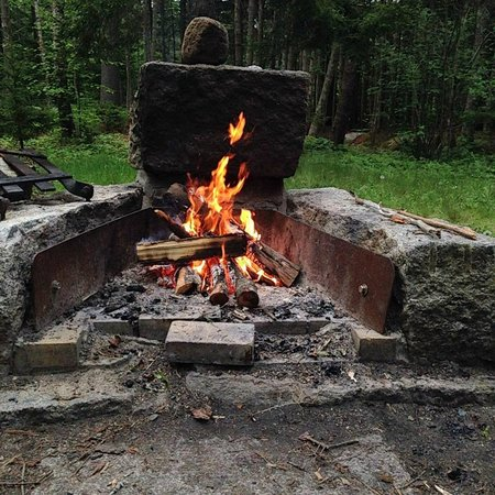 Seawall Campground : Fire pit. Includes grill grate (seen to left)