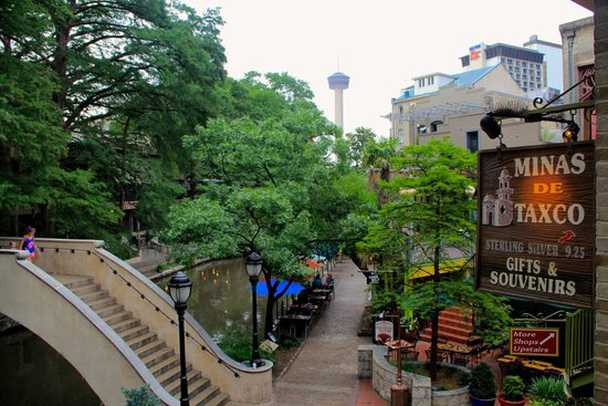 San Antonio River: A view of the Tower of the Americas from the Riverwalk