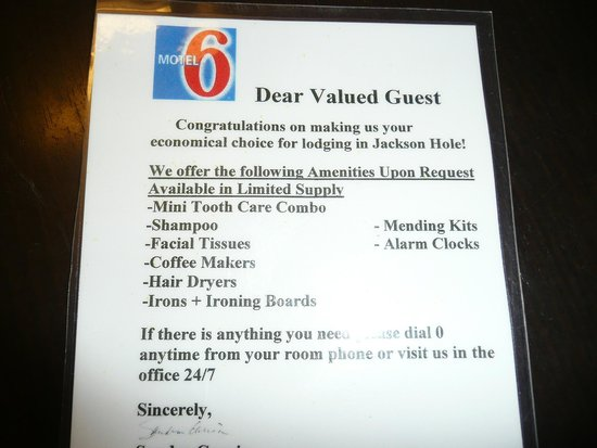 Motel 6 Jackson : Some things NOT included