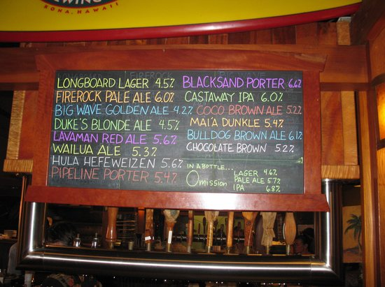 Kona Brewing Company: The beer list when we were there.