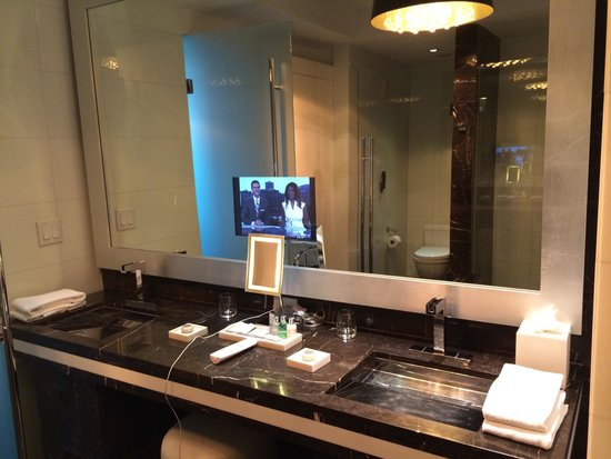 Hotel Beaux Arts Miami : Marble bathroom with in-mirror tv