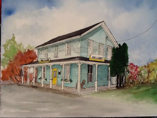 Adelaide's Coffee and Sweet Shoppe: Adelaide's Coffee & Books. Painting by Jean Stamper