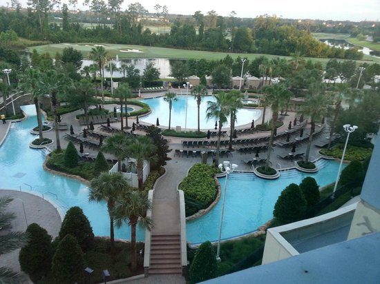 Hilton Orlando Bonnet Creek : View of the pool - enlarge to see message on chairs!