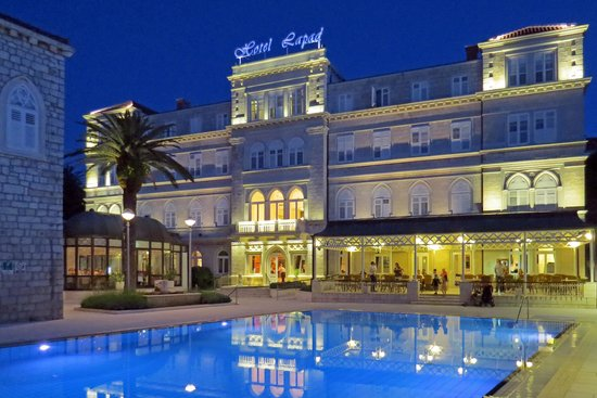 Hotel Lapad: L to R - restaurant, hotel entrance, bar, and pool.