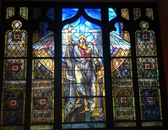 Indianapolis Museum of Art: Tiffany stained glass archangel Michael