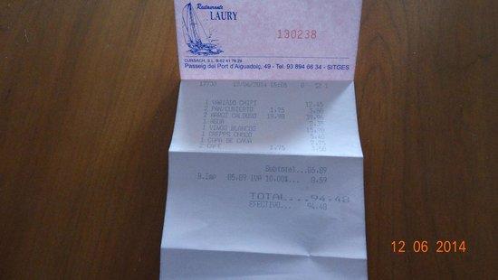Can Laury Peix: factura de 2º dia