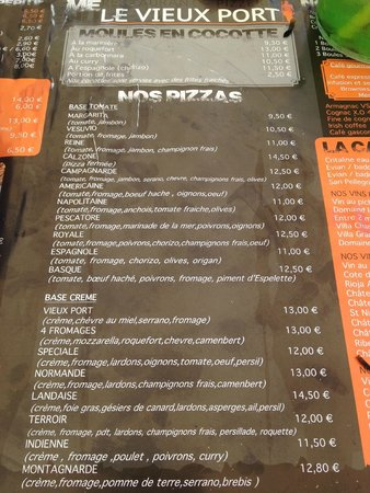 Camping le Vieux Port: On site pizzeria menu