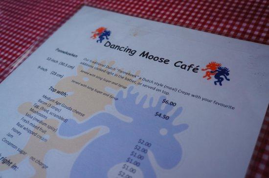 The Dancing Moose Cafe : menu