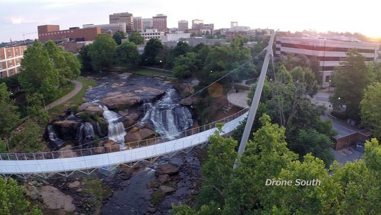 Falls Park on the Reedy : Liberty Bridge from the air taken by drone by Drone South