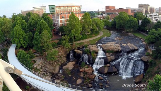 Falls Park On The Reedy Liberty Bridge From Air Taken By Drone