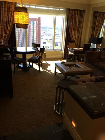 The Palazzo Resort Hotel Casino: this was our room with the great view and sunken living room !