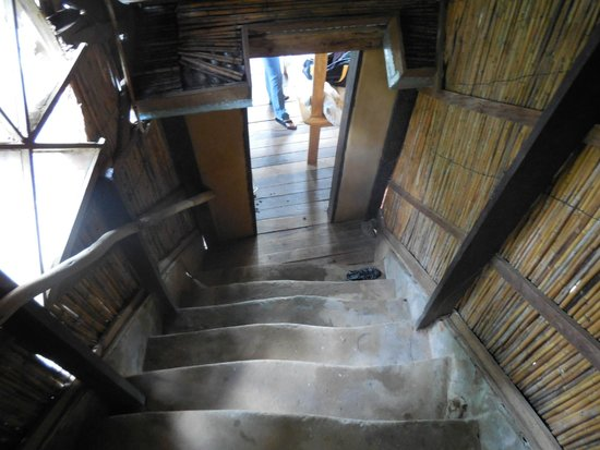Mayoka Village: Looking down to our main room from the bathroom