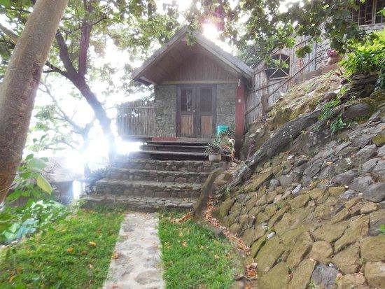 Mayoka Village: Front door of #15 and see the bathroom above