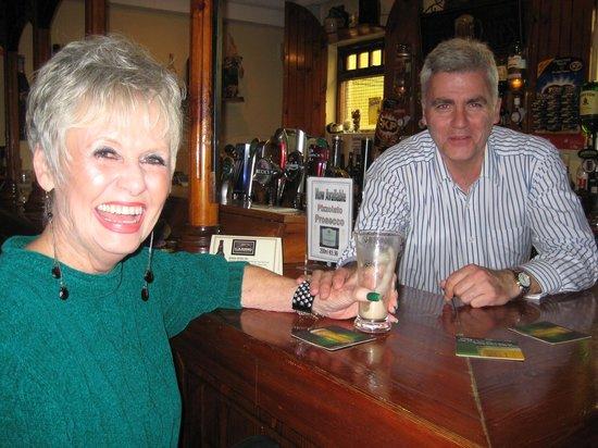 Atlantic Apartotel: My wife, Betty, with owner John in pub