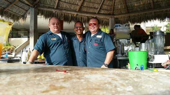 """Flamingo Beach Resort And Spa: The """"three amigos""""! From the left, Leo, Manolo, and Elias! Awesome guys!"""