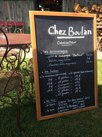 Chez Boulan : La carte